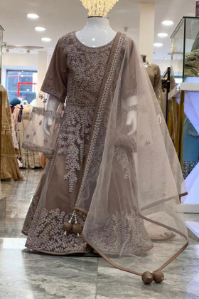 Beige girls embroidered gown