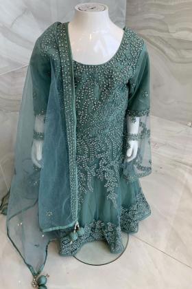 Elegant green embroidered kids wear