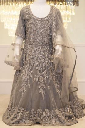 Elegant grey embroidered kids dress