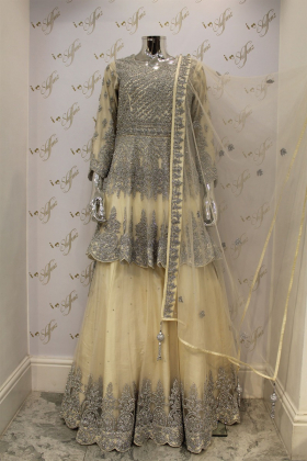 Cream net lengha suit