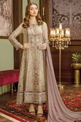 Beige pastelues embroidered long dress