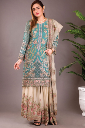 Beautiful 3 piece luxury embroidered turquoise suit