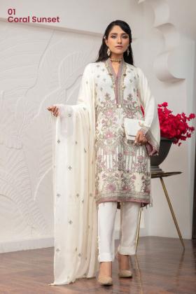 3 Piece Simran's chiffon luxury embroidered suit in cream