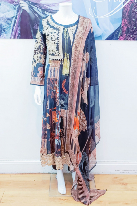 Ivana black luxury printed lawn suit