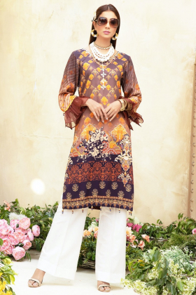 Yolo luxury printed kurti in brown
