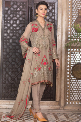 Beautiful 3 piece brown luxury embroidered chiffon suit
