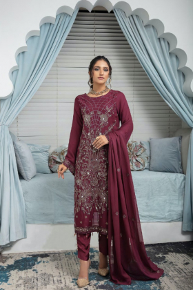 3 Piece Simran's chiffon embroidered suit in maroon
