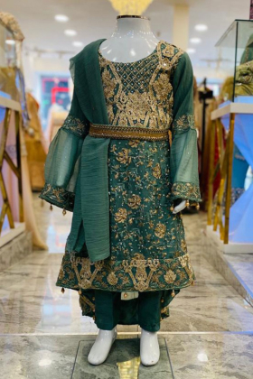 Sea green embroidered 3 piece girls suit