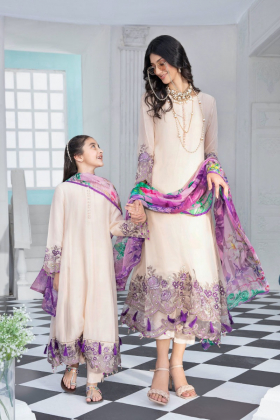 Kids 3 piece Petunia luxury chiffon embroidered suit in nude