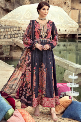 Ivana 3 piece black luxury printed lawn suit