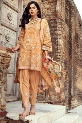 IVANA 3 Piece lawn embroidered beige suit