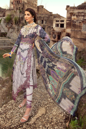 Grey and purple 3 Piece lawn printed suit