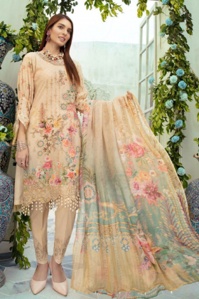 Ivana beige 3 piece luxury printed lawn suit