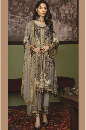 Beautiful 3 piece light green luxury embroidered chiffon suit
