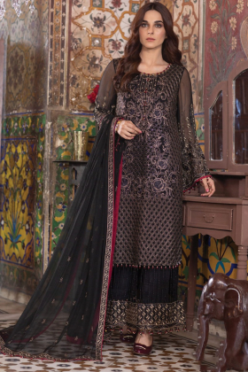 Beautiful 3 piece black luxury embroidered chiffon suit