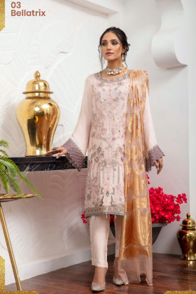 3 Piece Simran's chiffon luxury embroidered suit in peach pink