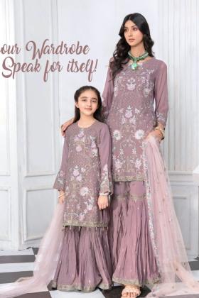 Kids 3 piece ice pearl luxury chiffon embroidered garara suit in mauve