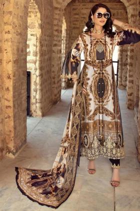 Ivana 3 piece luxury digital printed cream lawn suit