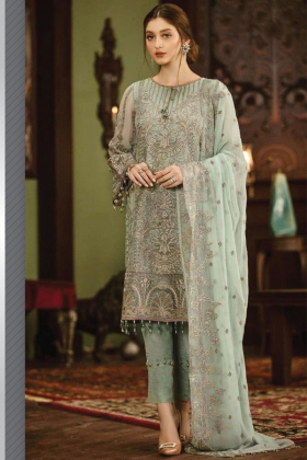 Beautiful 3 piece mint luxury embroidered chiffon suit