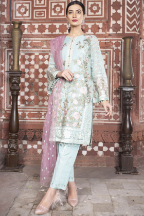 Beautiful 3 piece blue luxury embroidered chiffon suit