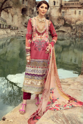 Ivana 3 piece beige and pink printed lawn suit