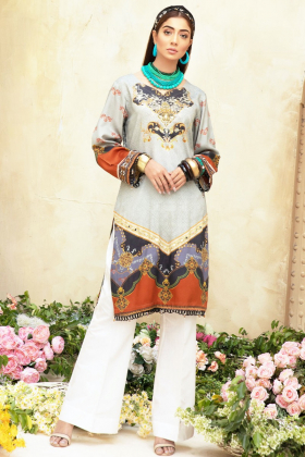 Yolo luxury printed kurti in khaki