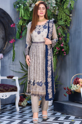 Beautiful 3 piece grey luxury embroidered chiffon suit