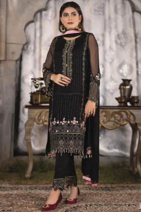 Beautiful black 3 piece chiffon luxury embroidered suit