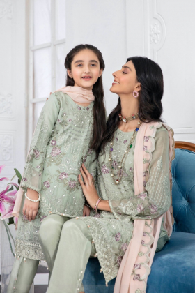 Kids 3 piece luxury embroidered chiffon suit in pistachio mint