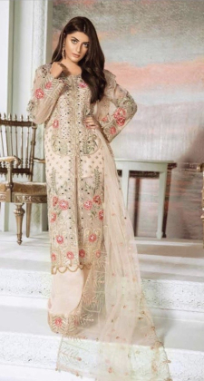 Three piece luxury embroidered suit in cream