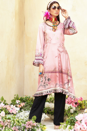 Yolo luxury printed kurti in dusty pink