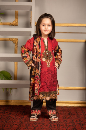 Kids 3 piece lawn printed maroon outfit