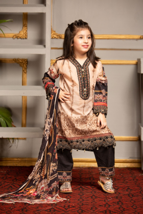 Kids 3 piece lawn beige printed outfit