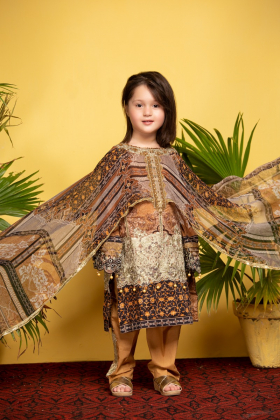 Ivana kids beige cape style printed suit