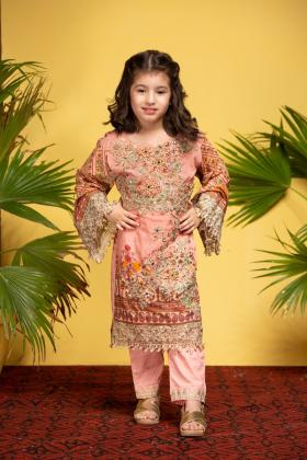 IVANA Kids 3 piece lawn pink suit