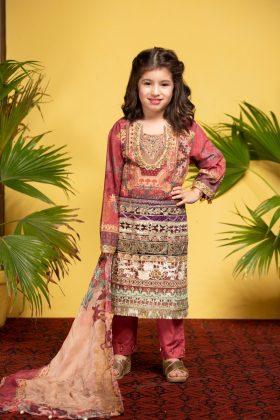 Ivana kids 3 piece beige and pink printed lawn suit
