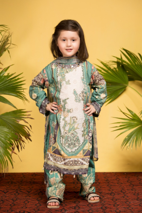 Ivana kids 3 piece green and white luxury printed lawn suit