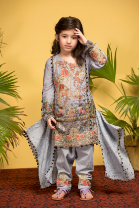 Ivana kids 3 piece luxury printed lawn blue suit