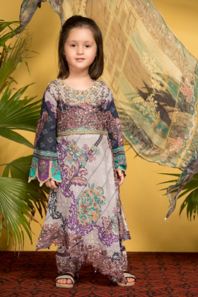 Kids 3 piece grey and purple printed lawn suit