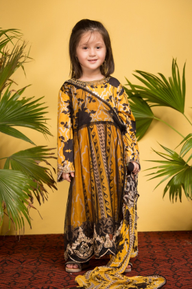 IVANA 3 piece luxury printed lawn mustard suit