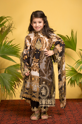 Ivana kids 3 piece luxury digital printed lawn suit