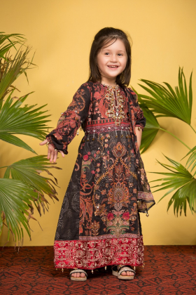 Kids 3 piece ivana luxury printed lawn suit in black and pink