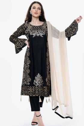 3 Piece black linen casual suit