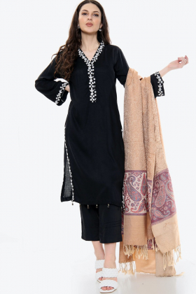 3 Piece linen mirror work shawl suit