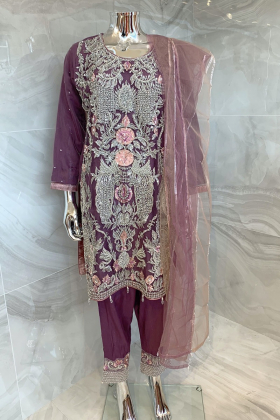 3 Piece luxury stone work embroidered suit in purple