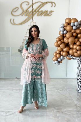 Latest Eid collection-3 Piece luxury embroidered net suit in mint