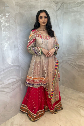 3 Piece luxury embroidered mehndi sharara suit in beige and pink