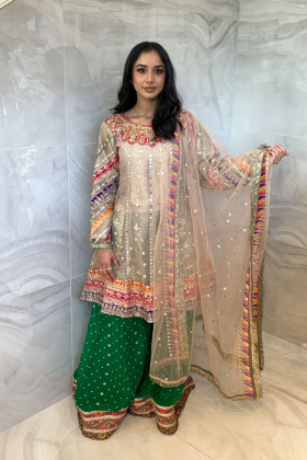 3 Piece luxury embroidered mehndi sharara suit in beige and green