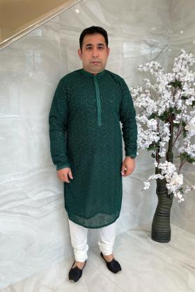 Men's 2 piece luxury embroidered suit in dark green