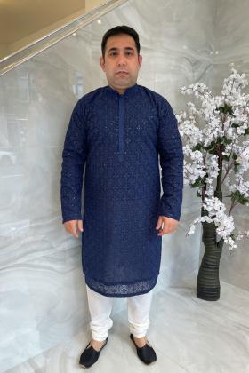 Men's 2 piece luxury embroidered suit in navy